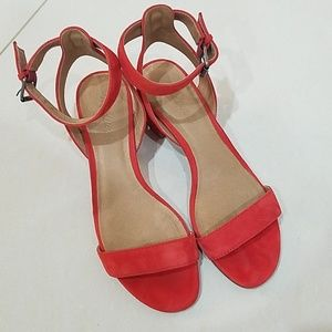 Madewell red suede sandals
